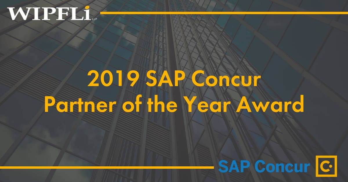 Wipfli Wins 2019 SAP Concur Partner of the Year Award