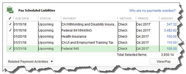 Payroll Liabilities screen in QuickBooks