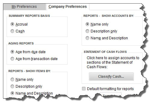 Must be the QuickBooks Administrator to set Company Preferences