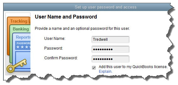 User name and password screen