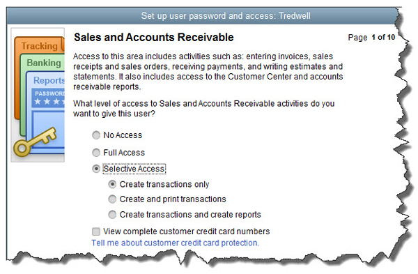 Sales and Accounts Receivable screen