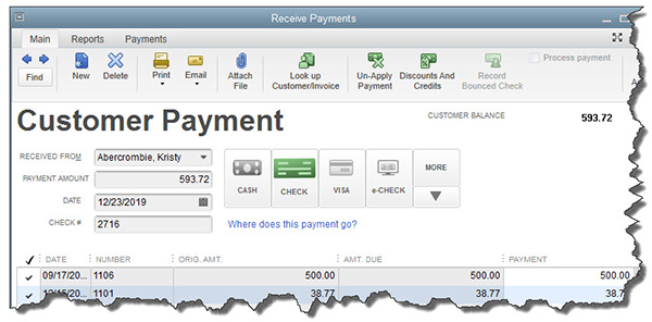 QuickBooks' Receive Payments screen