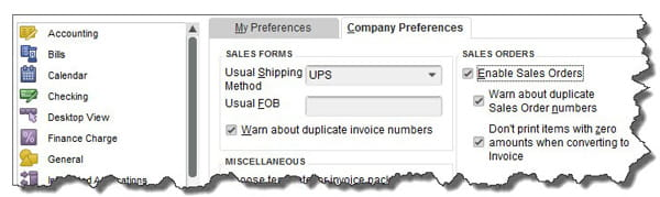 Sales Order options on QuickBooks Company Preferences screen