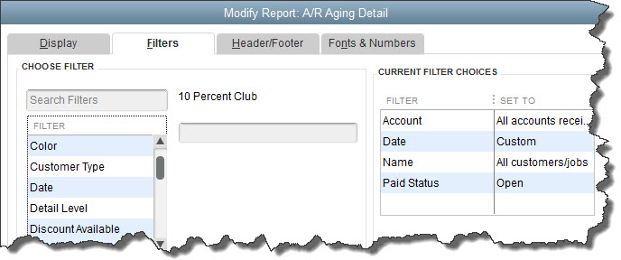 QuickBooks A/R Aging Detail