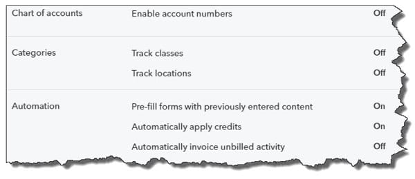 The Advanced page of QuickBooks Online's Account and Settings