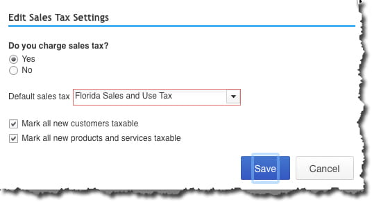 Edit Sales Tax Settings window