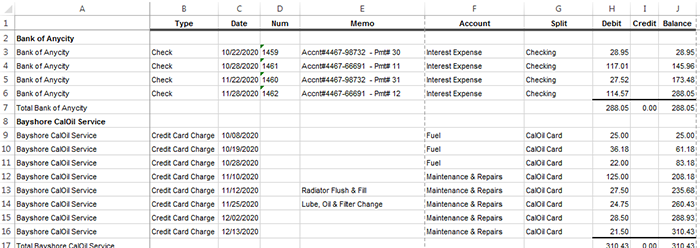 The steps needed to fill in the blank cells in a QuickBooks report sent to Excel
