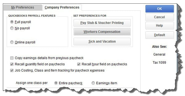 The Company Preferences screen in Payroll & Employees Preferences