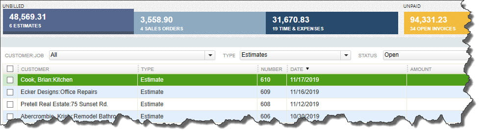 QuickBooks Income Tracker screen