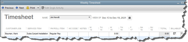 Weekly timesheet in QuickBooks