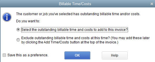 Billable Time/Costs in QuickBooks