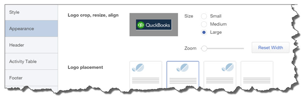 QuickBooks Online lets you include your logo