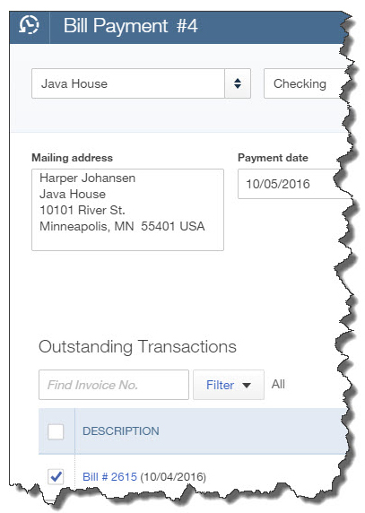 A partial view of the Bill Payment screen