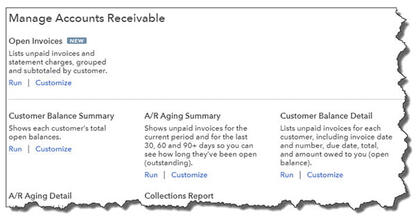 QuickBooks Online displays descriptions of each A/R report and links to the Run and Customize functions in its directory.