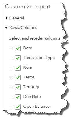 A partial list of the Column options in QuickBooks Online