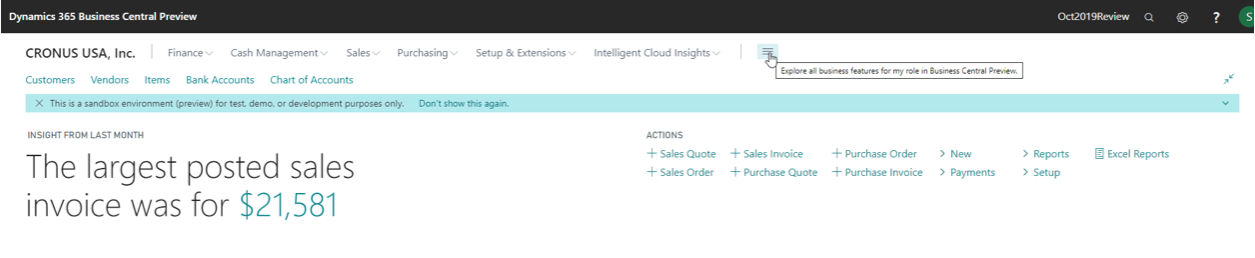 Top 5 features in the Microsoft Dynamics 365 Business Central October 2019 Release
