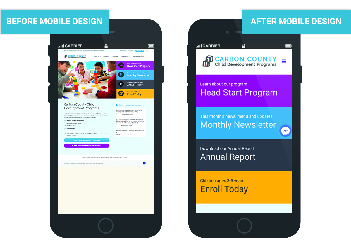 Learn more about the work we did for the Carbon County Child Development Program with a mobile-friendly redesign: