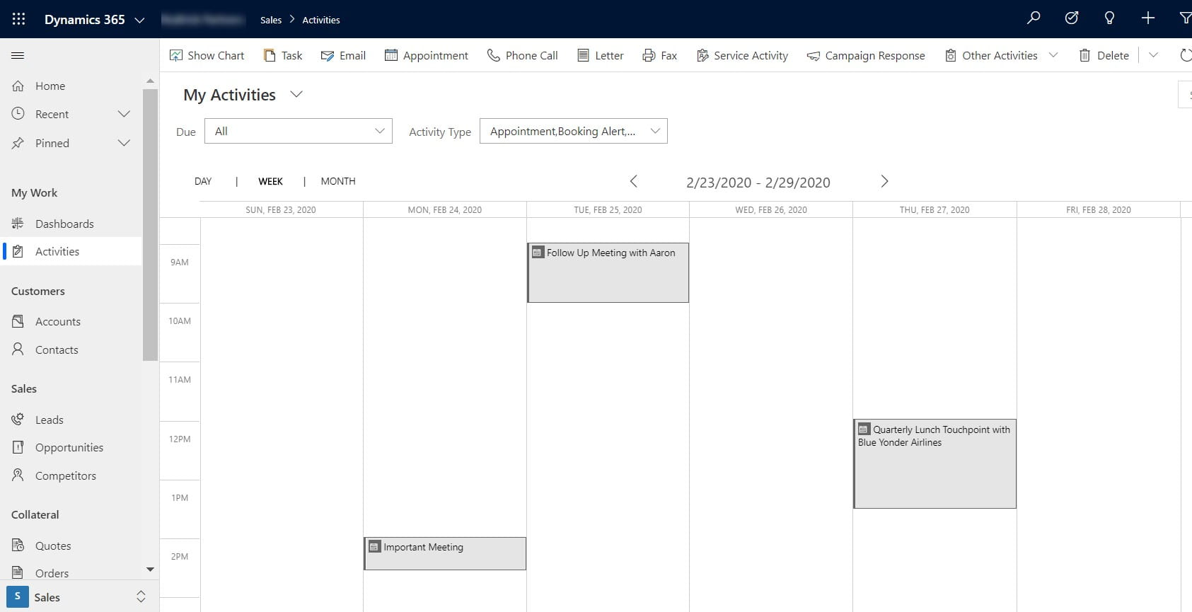 Calendar view showing activities for the week